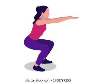 Woman doing squats. Physical exercises. Squats. Fitness. Vector illustration of a woman doing sports isolated on a white background