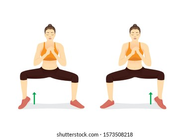 Woman doing Sumo Squat With Calf Raises switch sides. Illustration about workout diagram of fat leg reduction.