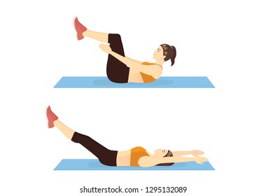 Woman doing Tabletop Crunch With Leg Reach in 2 step for workout guide. Illustration about introduction Exercise position.