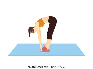 Woman doing Toe Touch Stretches Exercise in standing posture on mat. Illustration about warm up and cool down and workout.
