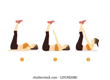 Woman doing Toe Touch workout in lying posture on mat. Illustration about exercise step guide.