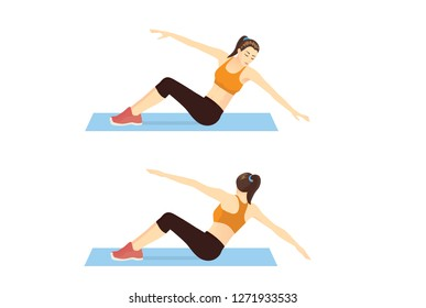 Woman doing twist body and rotation arm in 2 step for abdominal workout. Illustration about exercise guide.