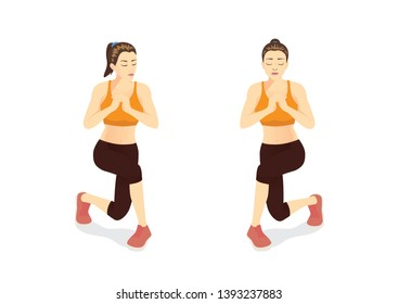 Woman doing workout with Alternating Curtsy Lunge in 2 steps. Illustration about Exercise guide.