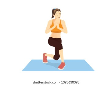 Woman doing workout with Alternating Curtsy Lunge. Illustration about Exercise for Targets at calves, Hamstrings and hips.