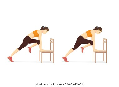 Woman doing workout in Mountain Climber with Chair Illustration about workout while stay at Home and lockdown.