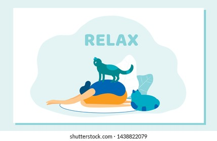 Woman Doing Yoga Asana Cat Sitting on her Back. Girl Relax with Domestic Animals, Morning Exercising at Home, Care for Pets, Relaxation, Leisure, Spare Time. Cartoon Flat Vector Illustration, Banner
