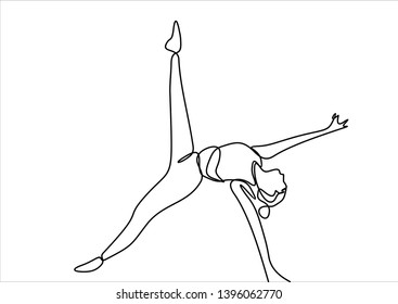 Woman doing yoga continuous line drawing