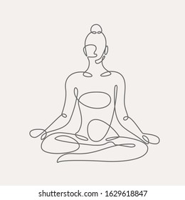 Woman doing yoga continuous one line vector illustration.