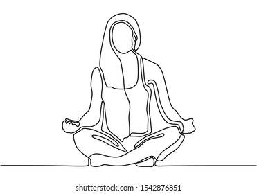 Woman doing yoga exercise continuous one line vector illustration minimalism style. Girl relaxation simplicity design.