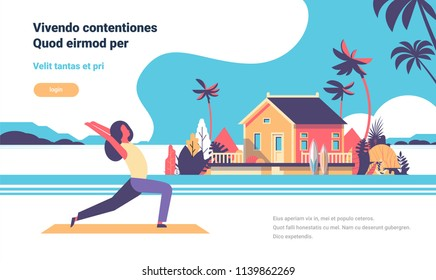 woman doing yoga exercises over beach villa house tropical island female cartoon character fitness activities full length flat copy space horizontal vector illustration