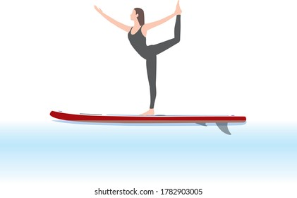 Woman doing yoga on a stand-up paddle  board