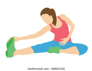 Woman doing yoga or pilates. Stretching exercises.