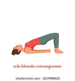 woman doing Yoga Setu Bandha Sarvangasana Chakrasana. Yoga pose of bridge. Physical health
