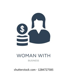 woman with dollar circle icon vector on white background, woman with dollar circle trendy filled icons from Business collection, woman with dollar circle vector illustration