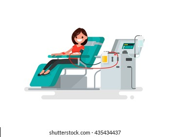 Woman donates blood. Vector illustration of a flat design