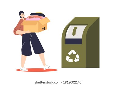 Woman donating box of used clothes for recycling throwing in container with recycle sign. Recycled fabric and cloth and eco friendly production. Flat vector illustration