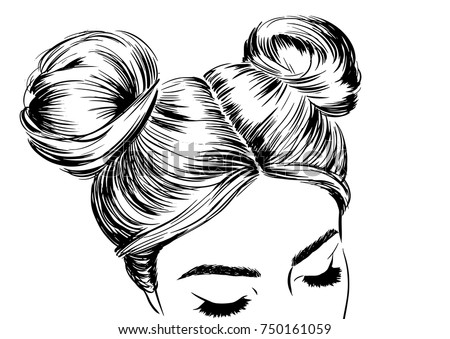 Woman Double Space Buns Fashion Illustration Stock Vector Royalty