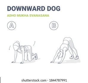 Woman Downward Dog Home Workout Exercise Guide. Outline Concept of Female Yoga Adho Mukha Shvanasana Practice. Girl in Sportswear Does Downward-facing Dog Fitness Pose for Shaping Her Butt.