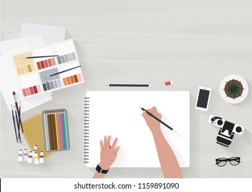 Woman drawing with pencil at sketchbook. With watercolor, wood color and other on the table. Flat illustration top view. Vector illustration