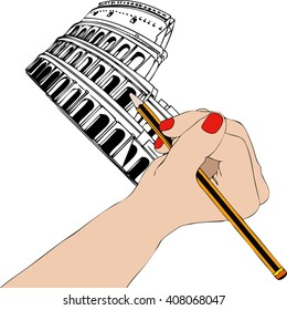 Woman draws the Colosseum in Rome - Illustration representing a woman's hand while drawing the Coliseum in Rome