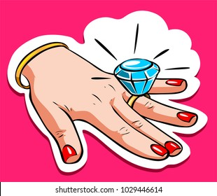 Woman dream: marriage, finger with diamond ring. Poster, sticker, design element. Vector illustration.