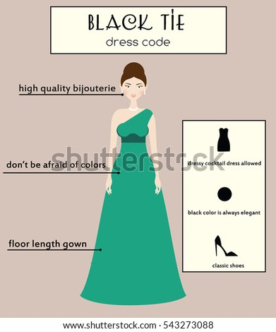 b344ac0cb7 Woman dress code infographic. Black tie type. Female in evening long gown  dress - Vector