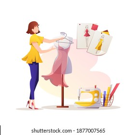 Woman with dress and mannequin. Sewing machine and sketches. Fashion designer, dressmaker, seamstress, sewing workshop or courses, tailoring concept. Vector illustration for banner, advertising.