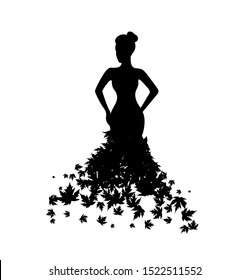 Woman with dress from maple leaves. Vector decoration from scattered elements. Monochrome isolated silhouette. Conceptual illustration.