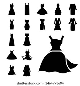 Woman dress vector icon isolated on white background. Gown symbol collection