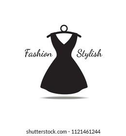 Woman dress vector on hanger.Fashion logo with Black dress