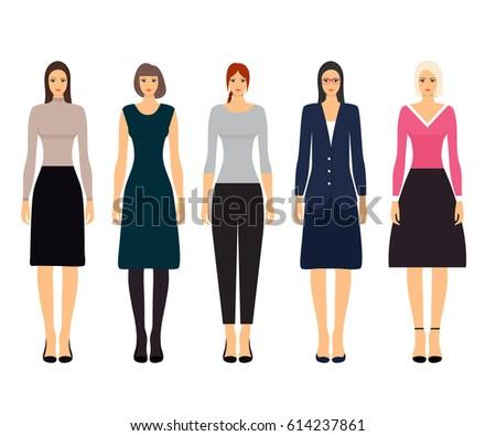 Woman Dresscode Vector Illustration Beautiful Women Stock