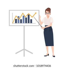 Woman dressed in business clothes holding pointer and standing beside whiteboard with bar chart and linear graph on it. Businesswoman making presentation. Colorful cartoon flat vector illustration.