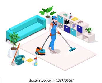 Woman dressed in uniform cleans and vacuums, washes the floor in the home and cleans. Professional cleaning service with equipment and staff.Vector isometric isolate