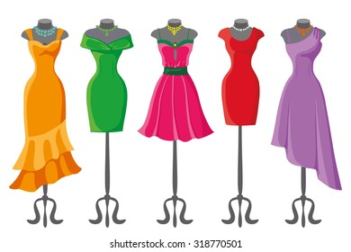Woman dresses on a mannequin.Summer Fashion party. Short and long elegant bright color polka dot design lady dress collection. Vector art image illustration, isolated on background