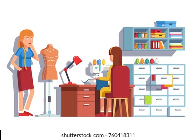 Woman dressmaker looking at mannequin, seamstress working with fabric on sewing machine sitting on chair behind wooden desk. Tailor workshop. Clothes designer. Flat vector illustration.