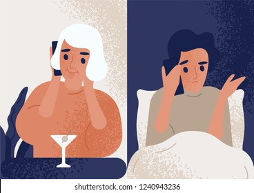 Woman drinking cocktail at bar and talking on mobile phone to man sitting in bed. Couple communicating through smartphone. Boyfriend worrying about his girlfriend. Flat colored vector illustration.