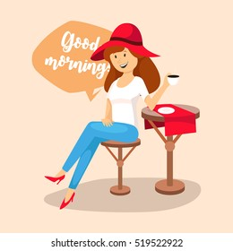 woman drinking coffee in a cafe, good morning, vector