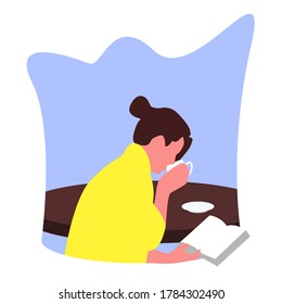 A woman drinking coffee while reading a book novel in the morning flat illustration