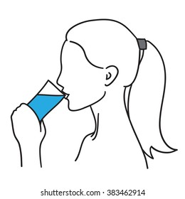 Woman drinking a glass of water vector illustration black on white line