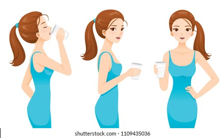 Woman Drinking Milk For Health. Good Shape Woman In Blue Dress, Tall, Healthy, Care, People, Lifestyle