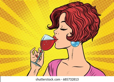 Woman drinking red wine. Pop art retro vector illustration