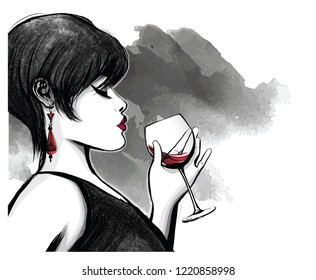 woman drinking red wine - vector illustration