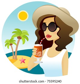 Woman drinking tropical drink next to the sea