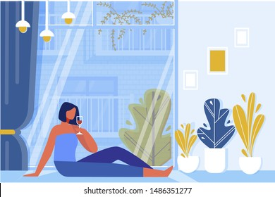 Woman Drinking Wine Glass Sitting on Floor near Big Window Flat Cartoon Vector Illustration. Relaxation in Evening in Living Room. Glass Wall with Curtains. Rest after Work. Romantic Mood.