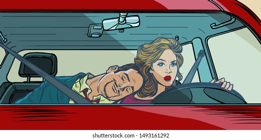 woman driver. couple in the car husband and wife. Pop art retro vector illustration drawing. background with highlights