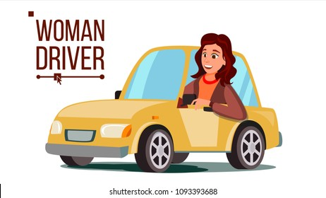 Woman Driver Vector. Sitting In Modern Automobile. Buy A New Car. Driving School Concept. Happy Female Motorist. Isolated Flat Cartoon Character Illustration