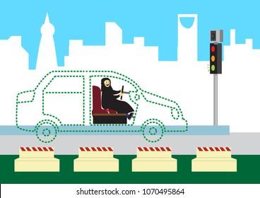 Woman Drives in her an ideal or dream car. Editable Clip Art.