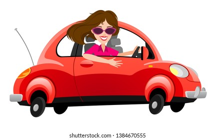 Woman drives in new red car. Happy woman in new red car. A beautiful girl bought a new car and drives it.