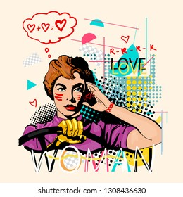 Woman driving car. Zine culture style. Hand drawn vector art, fashion contemporary collage