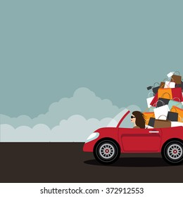 Woman driving convertible overloaded with shopping bags. With copy space. EPS 10 vector.